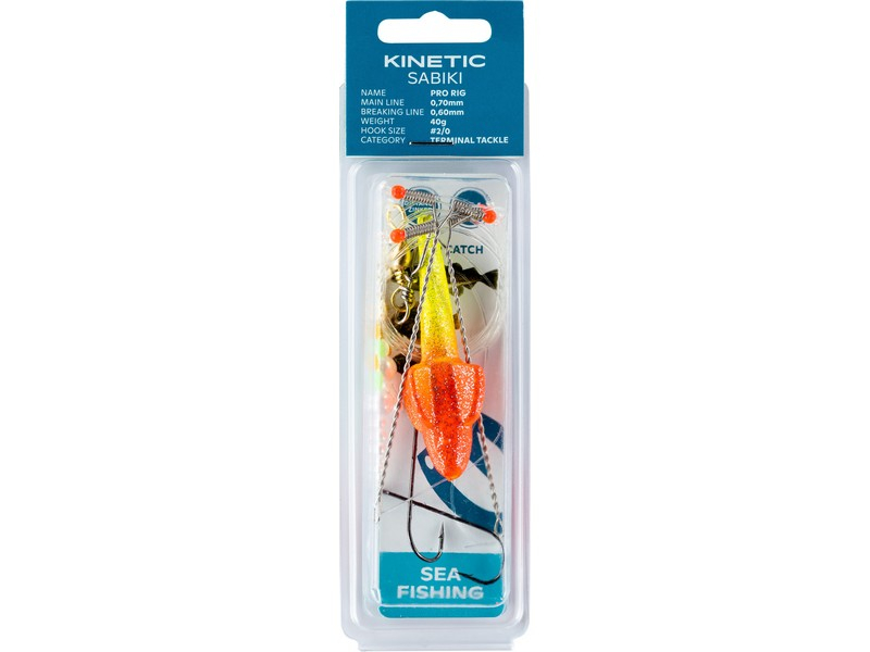Kinetic Sabiki Pro Rig-Yellow Glitter/Red Target-40 gr. - Default Category